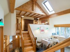 The vaulted mezzanine kitchen, diner and snug. Copeland #cottage in Portinscale near #Keswick #lakedistrict www.sallyscottages.co.uk/copeland-cottage