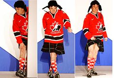 Mike Myers on the runway in his kilt. Oh do behave!