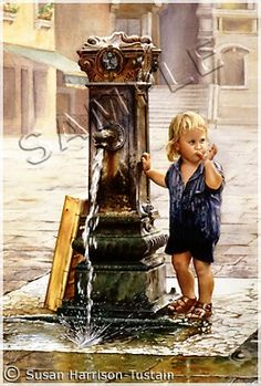 Figurative Painting of a young blonde hair child/boy standing at a waterfontaine - Original watercolor painting by Susan Harrison-Tustain