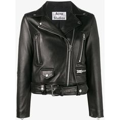 Acne Studios Acne Studios Mock Jacket (€1.745) ❤ liked on Polyvore featuring outerwear, jackets, 100 leather jacket, leather jackets, genuine leather jackets, real leather jackets and acne studios