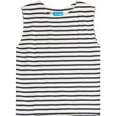 M i H Jeans Mariniere Striped Cotton Tank (€130) ❤ liked on Polyvore featuring tops, stripes, relaxed fit tops, striped tank, white cotton tank, stripe top and white cotton tops