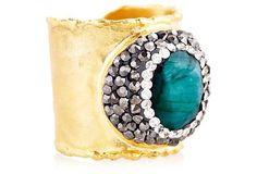 Emerald and gold ring by Rachel Reindhart @onekingslane