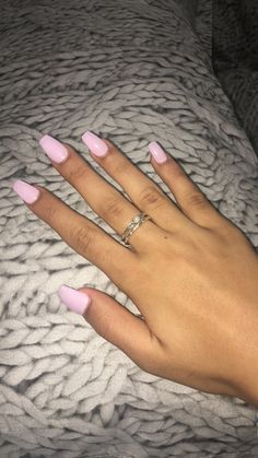 Fresh coffin nails, Gelish colour in 'Lilac' - Nails Tip Acrylic Nails Coffin Short, Simple Acrylic Nails, Summer Acrylic Nails, Best Acrylic Nails, Acrylic Nail Designs, Simple Nails, Baby Pink Nails Acrylic, Pink Acrylics, Colourful Acrylic Nails