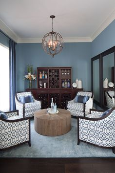 House of Turquoise: Heather Scott Home and Design (love chairs and round table for wine room) Cozy Living Rooms, Formal Living Rooms, Home And Living, Living Room Furniture, Living Room Decor, Modern Living, Dining Rooms, 4 Chair Living Room Arrangement, Table In Living Room