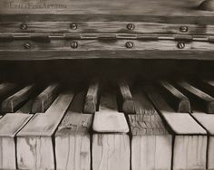 """""""Hidden"""" Acrylic and charcoal on arches paper. I love how old instruments evoke questions... questions about the people who have played them and enjoyed their music, the places and homes where they've resided, and the many many songs they've heard and how they transformed rooms with emotion and beauty. This piece is one of my personal favorites. www.facebook.com/jalbersstudio"""