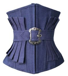 Lucea Women's Fashion Denim Effect Pleated Waist Training Underbust Corset Blue XX-Large