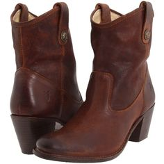 Frye Jackie Button Short Women's Dress Pull-on Boots, Brown (305 CAD) ❤ liked on Polyvore featuring shoes, boots, ankle booties, ankle boots, brown, brown booties, leather bootie, leather boots and brown leather booties