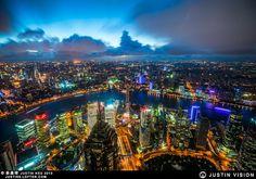 Shanghai Puxi skyline at night. Shanghai, China