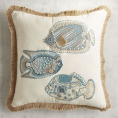 School is in session, and the first order of business is coastal decor. Sit back, relax and let us take care of the hard part: Picking out the perfect pillow. We've got you covered with a soft cotton/linen-blend, jute fringe and appliqued accents. Decorative Spheres, Silk Ribbon Embroidery, Perfect Pillow, Animal Pillows, Coastal Decor, Home Textile, Couture, Decorative Throw Pillows, Crochet