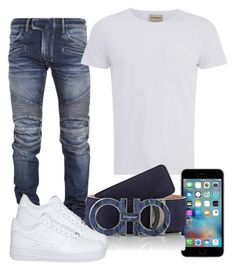 """???"" by ebkkeef ❤ liked on Polyvore featuring Balmain, Oliver Spencer, Salvatore Ferragamo, NIKE, men's fashion and menswear"