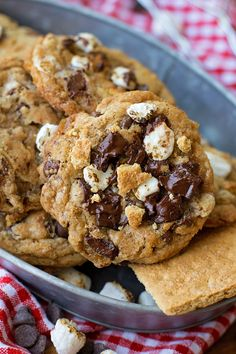 These gooey s'mores chocolate chip cookies are perfect for summer! They're everything you love about a s'more, minus the campfire!