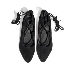 Jeffrey Campbell Atsuko Suede Lace Up Flats (1,790 MXN) ❤ liked on Polyvore featuring shoes, flats, flat pumps, suede flats, black shoes, black suede flats and black ankle strap shoes