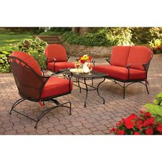 Better Homes and Gardens Clayton Court 4-Piece Patio Conversation Set, Red, Seats 4...would look great with my 2 loungers I just pinned. :)