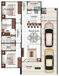 Planta de casas de 3 quartos: