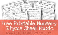 Free sheet music of traditional nursery rhymes and children's songs and free fun and easy music theory printable worksheets for kids.
