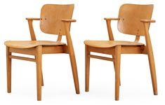 A pair of Ilmari Tapiovaara 'Domus' birch armchairs, Keravan Puuteollisuus, Finland. Dining Chairs, Nice, Furniture, Design, Home Decor, Decoration Home, Room Decor, Dining Chair, Home Furnishings