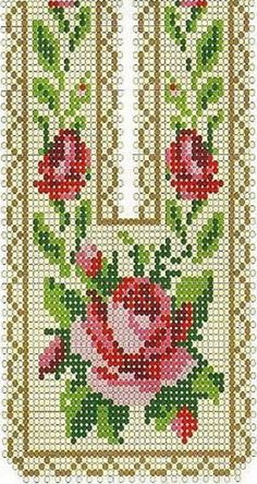 beaded design, but could also work for cross stitch or fusebeads Cross Stitch Rose, Cross Stitch Borders, Cross Stitch Flowers, Cross Stitch Charts, Cross Stitch Designs, Cross Stitching, Cross Stitch Patterns, Bead Loom Patterns, Peyote Patterns