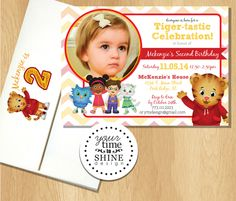 Daniel Tiger Birthday Invitations with Custom Printed Envelopes by YourTimeToShine on Etsy https://www.etsy.com/listing/206832837/daniel-tiger-birthday-invitations-with