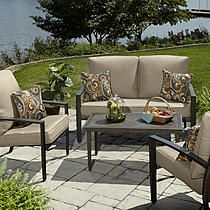 Grand Resort River Oak 4pc Woven Seating Set with Coffee Table