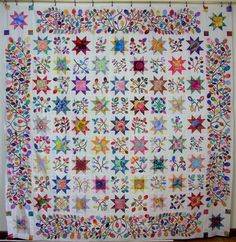 kim mclean | Kim McLean Stars and Sprigs quilt by ... | mixed applique/pieced