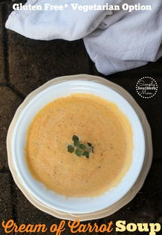 This Easy Cream of Carrot Soup recipe is a great twist on the old favorite Cream of Soup recipe. It's gluten free, can be made quickly and has a vegetarian option. Easy Soup Recipes, Gourmet Recipes, Fun Recipes, Recipe Ideas, Vegetarian Recipes, Cream Of Carrot Soup Recipe, Healthy Donuts, Chili Soup, Hot Soup