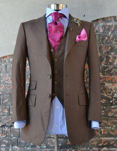 3 piece brown suit