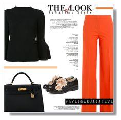 """Orange in the Office"" by aidasusisilva ❤ liked on Polyvore featuring Carolina Herrera, Diane Von Furstenberg, Hermès and Pokemaoke"