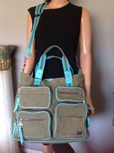Roxy Bag Duffell Business College Designer Fashion Army Green Turqouise Hip   7d46471e3c663