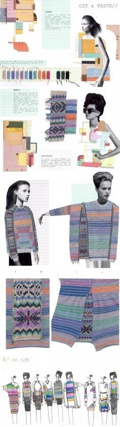 "Fashion Knitwear Sketchbook - drawing, design, moodboard, development - ""CUT & PASTE"" collection, rory longdon"