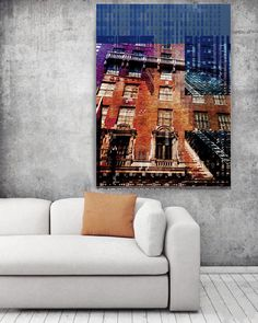 Street Life 5, Large Architectural Cityscape Canvas Art Print. Rustic Brown Blue URBAN Canvas Art Print up to 72 by Irena Orlova Orlov Orlov  Wall Art Decor for Home, Office or Hotel  URBAN ART  With a harder approach and industrial elements, my urban art is ideal for the loft owner or edgy boutique Urban Print on Canvas – 8 Sizes Available  So striking, this is my Urban Painting – a canvas print of my original artwork. I also give you the option to have the print hand embellished, which is…
