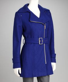 $99.99 (Retail: 325) -Take a look at this Kenneth Cole Lapis & Gold Wool Coat - Women by Kenneth Cole & Kristen Blake on #zulily today!