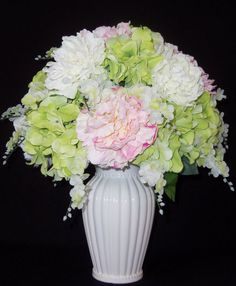 Artificial Flowers. White, Pink & Green Peonies, White Vase, Silk Floral Arrangement, Silk Flower Arrangement, Spring Floral Arrangement. $43.95, via Etsy.