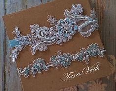 Wedding garter set,light blue Garter,Rhinestone blue Garter, Bridal garters light blue,bridal garter,Floral lace garter,Garter Set