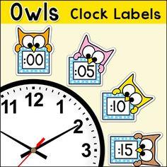 Labels - Clock Labels - Owl Theme Classroom Decor - to School Decor | by Pink Cat Studio | $3.99