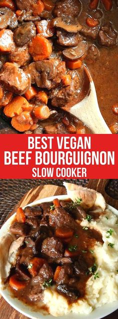 Vegan Beef Bourguignon Recipe is from the Slow Cooker is a must-make. It has a rich broth and is packed with healthy vegetables such as mushrooms and carrots. So simple, and you'll be amazed at how hearty this dish is! #veganbeefBourguignon #beefBourguignonrecipe #beefBurgundy #veganbeefBourguignonslowcooker #veganbeefBourguignonrecipe #veganbeefBourguignonrecipecrockpot