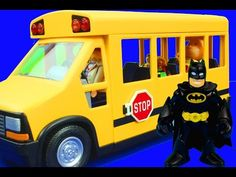 Wheels On The Bus Go Round and Round Nursery Rhymes Daniel Tiger Caillou Batman Superman Spiderman - YouTube