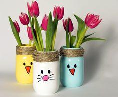 Bunte und fröhliche Osterideen 2015-Blumenvase mit Osterhasen- oder Kückenmotiven