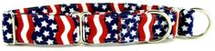 Wavy Red White & Blue Martingale Collar Exclusively made for Collar Planet. This collar is available in 4 sizes and 3 widths. Made with care from soft, quality cotton fabric, durable with six layers sewn together with stress points reinforced. http://www.collarplanetonline.com/wavy-red-white-blue-martingale-pet-dog-collar/