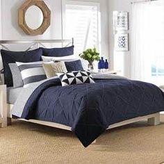 Blue master bedroom, blue gray bedroom, bedding master bedroom, cozy be Navy Blue Bedrooms, Blue Master Bedroom, Blue Gray Bedroom, Nautical Bedroom, Bedding Master Bedroom, Coastal Bedrooms, Master Bedroom Design, Bedroom Decor, Bedroom Ideas