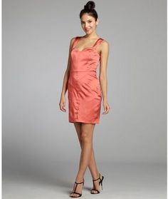 ff23d77aa7d shopstyle.com  Vera Wang Lavender Label burnt orange sateen banded  sweetheart party dress