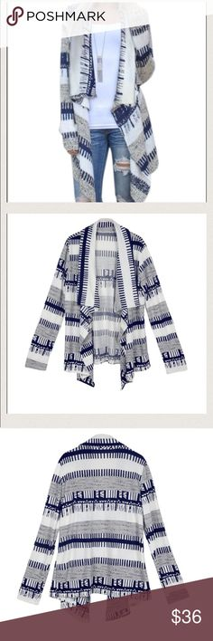 cardigan Light weight open draped front. High low hem detail. Soft and stretchable. It has navy blue, white and grey design. It awesome! BOUTIQUE ITEM Sweaters Cardigans