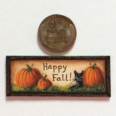 Black Cat Painting, Happy Fall, Folk Art, Artisan, Miniatures, Pumpkin, Cats, Pumpkins, Gatos