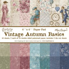 Maja Designs 6 x 6 Paper Pad - Vintage Autumn Basics - The Rubber Buggy 12x12 Scrapbook, Scrapbooking, Music Paper, Paper Paper, Rose Tutorial, Shabby Chic Crafts, Blooming Rose, Graphic 45, Vintage Design
