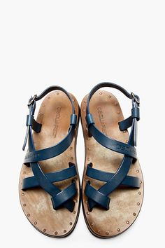 Navy Blue Leather Sandals, by DSquared2, Mens Spring Summer Fashion.