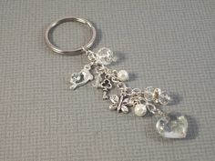 Glass Key Ring, Heart Key Fob, Beaded Heart Keyring, Heart Key Fob, Key Ring, Key Fob, Key Chain, Bag Charm, Bag Accessory