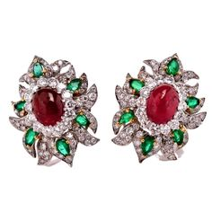 Ruby Emerald Diamond Platinum Clip Back  Earrings | From a unique collection of vintage clip-on earrings at https://www.1stdibs.com/jewelry/earrings/clip-on-earrings/