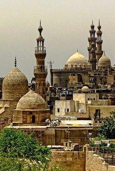 Las Pirámides de Giza en El Cairo, Egipto, al atardecer