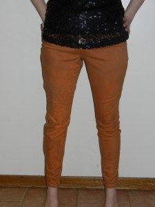 DIY refashion skinny jeans burnt orange