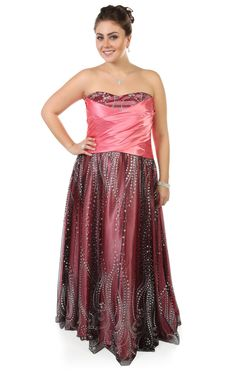 Deb Shops plus size strapless long #prom #dress with empire waist