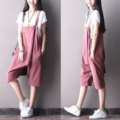 Pink overall women's pants fashion cotton linen